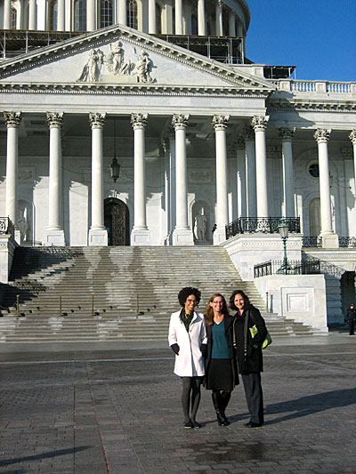 Ayana Johnson, Jen Sokolove and Melissa Garren heading into the Capitol Building